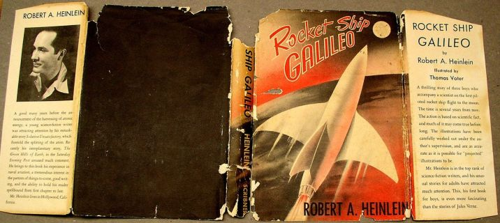 An unrestored dust jacket for Rocket Ship Galileo